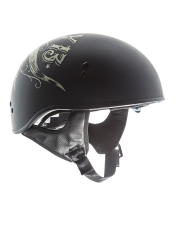 TORC® T-55 Drop Down Half Shell Helmet Lucky Bull head